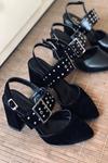 Y120 Siyah Süet Topuklu Ayakkabı