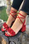 Y501 Kırmızı Süet Topuklu Ayakkabı
