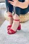 Y802 Kırmızı Deri Topuklu Ayakkabı