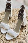 Y614 Beyaz Deri Topuklu Ayakkabı