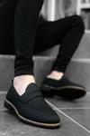 B009 Siyah Deri Crock Klasik Ayakkabı