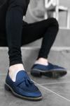 B009 Lacivert Deri Kemerli Püskülü Klasik Ayakkabı