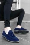 B009 Lacivert Süet Püsküllü Klasik Ayakkabı