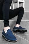 B009 Lacivert Deri Crock Klasik Ayakkabı