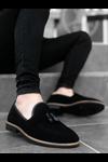 B009 Siyah Süet Püsküllü Klasik Ayakkabı