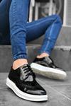 B003 Siyah Rugan Desenli BT Klasik Ayakkabı