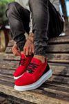 KNK040 Kırmızı BT Süet Spor Sneakers