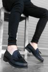 B062 Siyah Deri Corcik Klasik Ayakkabı