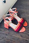 Y333 Turuncu Süet Topuklu Ayakkabı